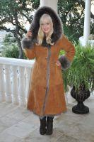 Caramel Delight Fully Toscana Hooded Sheepskin Coat