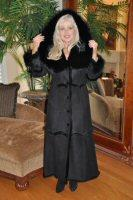 Lady Toscana In Black Spanish Merino Shearling Coat
