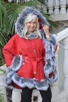 Crimson Flame Hooded Spanish Merino Shearling Sheepskin Cape With Silver Fox Trim