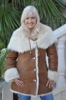 Caramel Sundae Fully Toscana Hooded Shearling Sheepskin Coat