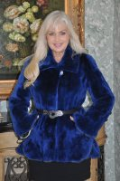 Sapphire Ice Sheared Beaver Jacket With Mink Trim