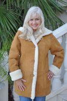 Sahara Tan Hooded Shearling Sheepskin Coat