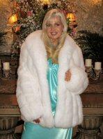 Showgirl White Fox Coat With Shawl Collar and Tuxdeo Front - 29