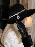Black Fox Trim Contoured Felt Hat With Rhinestone Band