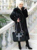 Riavani Designer - Large Black Calf Hair Handbag With Swarovski Crystal Cross